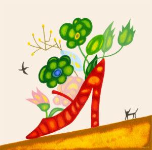 赤い靴 桃色の花